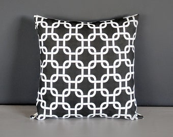 Black White Geometric Squares Pillow Cover