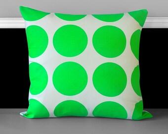 "Pillow Cover, Neon Green Dot 18"" x 18"", Ready to Ship"