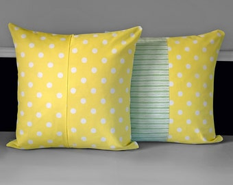 Pair of Yellow Polka Dot, Green Stripe Pillow Covers Ready to Ship
