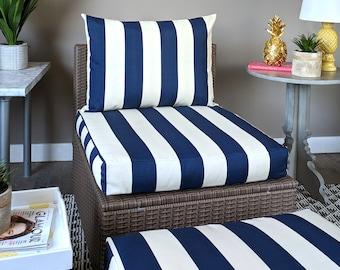 Navy Blue White IKEA Kungso OUTDOOR Slip Cover, Ikea Hallo Cushion Covers, Custom Ikea Decor, Bespoke Arholma Covers, Cabana Stripe