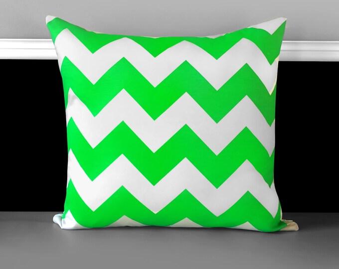 Pillow Cover - Neon Green Chevron, Ready to Ship