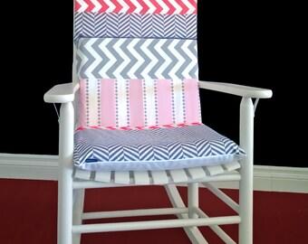 Herringbone Chevron Rocking Chair Cushion, Patchwork Chair Pad