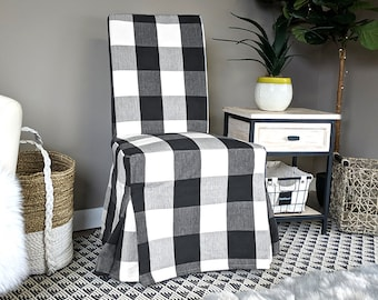 IKEA Dining Chair Cover, Farmhouse Plaid Buffalo Check Black, Traditional Style Henriksdal Slipcover