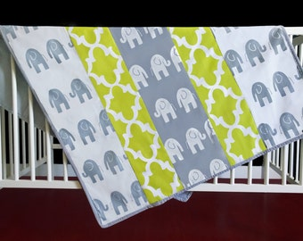 "Baby Playmat - White Grey Elephant, Fynn Canal Green, 38"" x 48"", Ready to Ship"