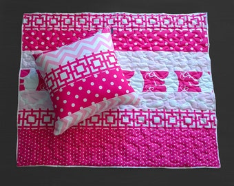 Quilted Baby Playmat - Hot Pink Multi-print, Ready to Ship