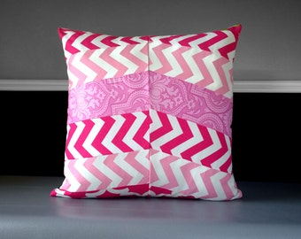 """Patchwork Pink Chevron Herringbone Pillow Cover 20"""" x 20"""", Ready to Ship"""