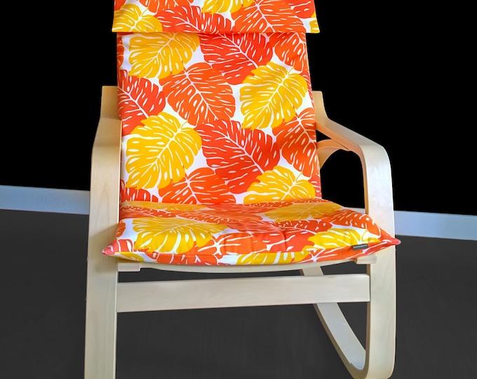 Orange Leaves Poang Chair Cover, Leaf Ikea Seat Cover, Tropical Ikea Cushion Cover