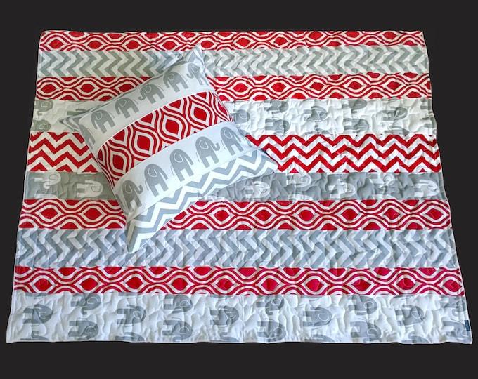 "Large Baby Playmat - Red Grey Elephant Nicole Chevron, 58"" x 46"" Ready to Ship"