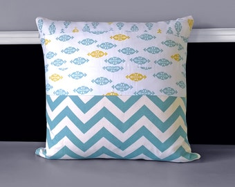 """Patchwork Blue Chevron Ikat Print Pillow Covers, 18"""" x 18"""", Ready to Ship"""