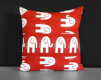 Red Elephant Patchwork Pillow Cover