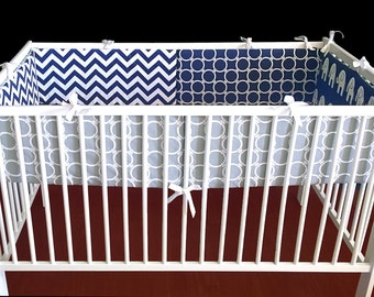 Navy Elephants Chevron Nursery Crib Cot Bumper