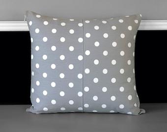 "Grey White Polka Dot Pillow Cover, 18"" x 18"""