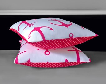 """Candy Pink Polka Dot Anchor Pillow Covers  18"""" x 18"""", Ready to Ship"""
