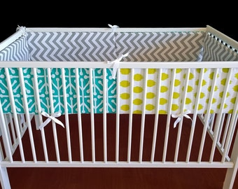 Multi Color Pattern Cot Crib Bumper