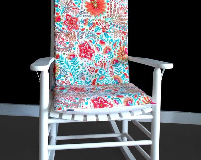 Floral Print Rocking Chair Cushion, Custom Flowers Rocking Chair Cover