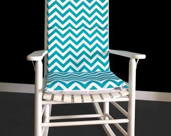 Turquoise Chevron Zig Zag Rocking Chair Cushion