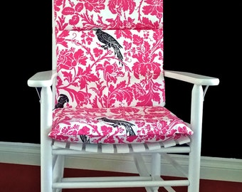 Pink Flower Bird Tropical Rocking Chair Cover