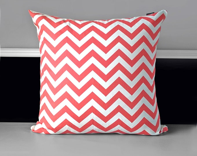 EXTRA LARGE Euro Coral Chevron Pillow Cover
