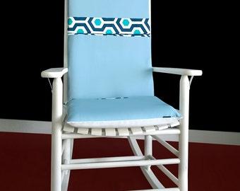 Blue Hexagon Rocking Chair Cushion Cover