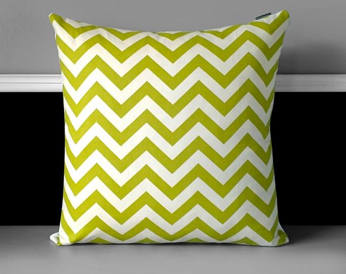 """Pillow Cover - Village Green / Natural Chevron 18"""", Ready to Ship"""