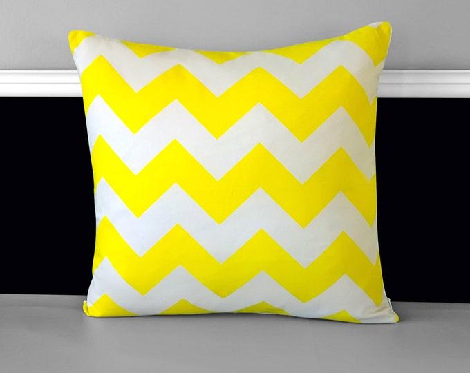 "Neon Yellow Chevron Pillow Cover 18"" x 18"", Ready to Ship"