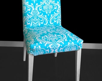 Turquoise Damask HENRIKSDAL Dining Chair Seat Cover