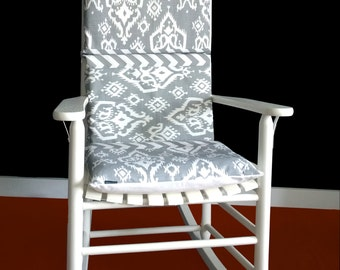 Gray Ikat Rocking Chair Cushion, Indian Style Chair Cover Inserts Set