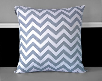 "Pillow Cover - Grey Chevron 20"" x 20"", Ready to Ship"