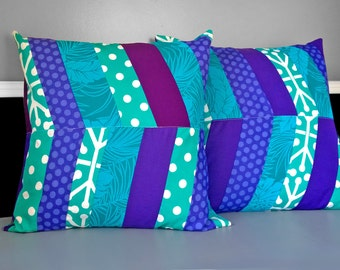 "Patchwork Teal Purple Herringbone 20"" x 20"""