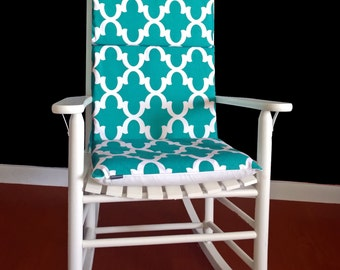 Green Patterned Rocking Chair Cover, Adjustable Reversible Rocking Chair Covers