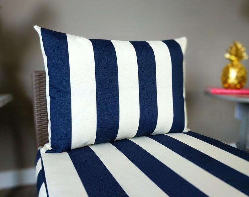 SALE Navy Blue Cream Cabana Stripe ARHOLMA OUTDOOR Slip Covers