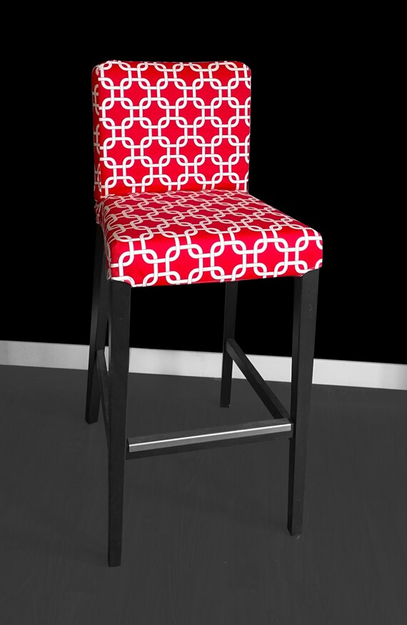 red geometric ikea henriksdal bar stool chair cover etsy. Black Bedroom Furniture Sets. Home Design Ideas