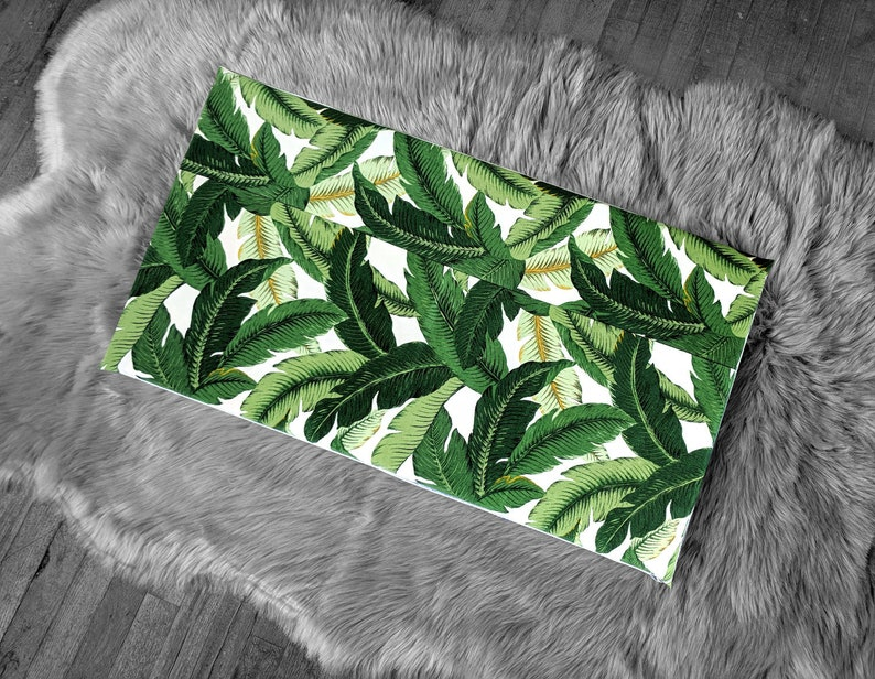 Ikea Bench Pad Slip Cover Outdoor Green Tropical Jungle Etsy