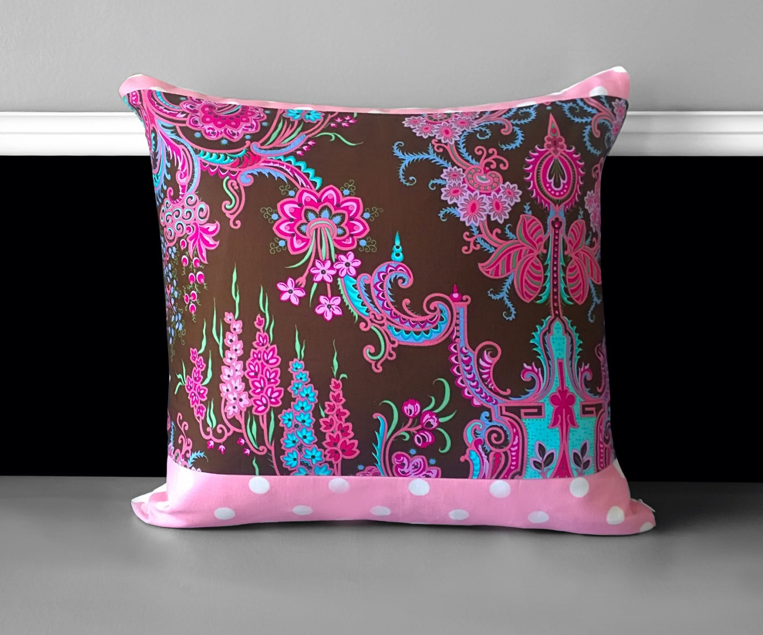 Pink Thai Style Flower Pillow Covers Chocolate Pink Cushion Covers
