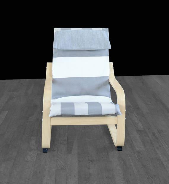 Superb Grey Beige White Cabana Stripe Ikea Kids Poang Chair Cover Cjindustries Chair Design For Home Cjindustriesco