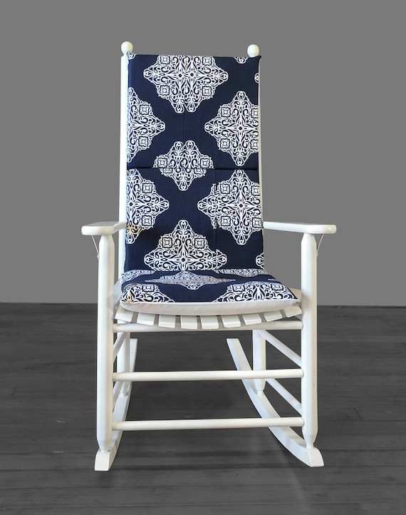 Excellent Navy Patterned Rocking Chair Pad Creativecarmelina Interior Chair Design Creativecarmelinacom