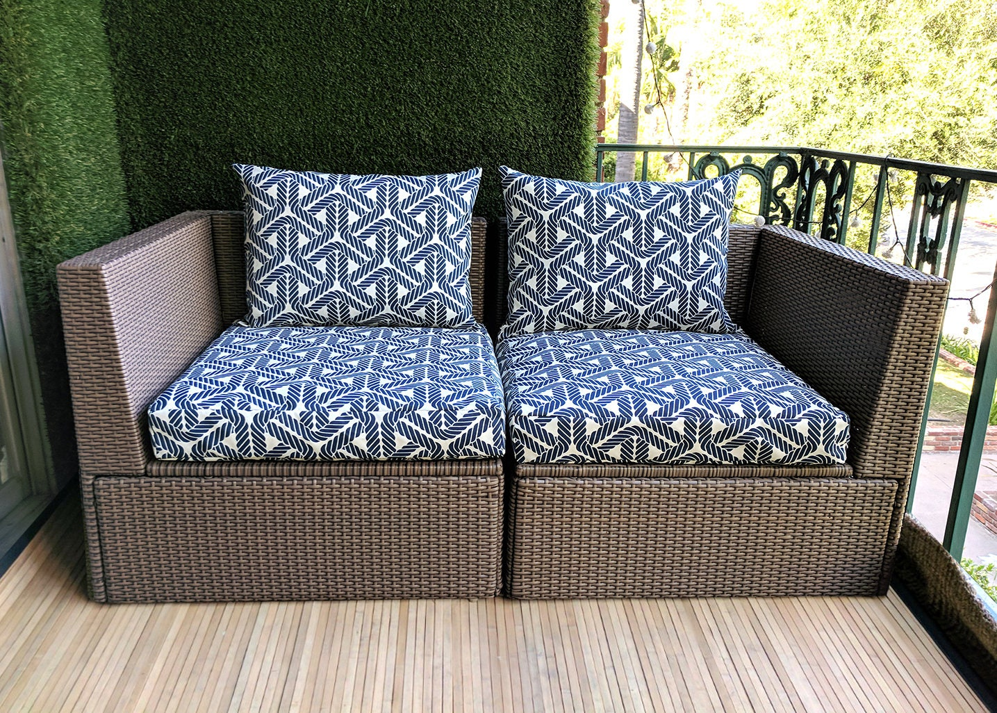 Blue Durable Ikea Rope Print Outdoor Slip Cover Ikea Cushion