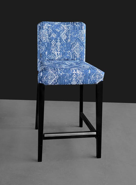 Ikea Henriksdal Bar Stool Chair Cover Tribal Indian Blue