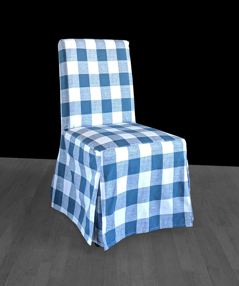 Enjoyable Blue Buffalo Check Ikea Henriksdal Dining Chair Covers Floor Length Gmtry Best Dining Table And Chair Ideas Images Gmtryco