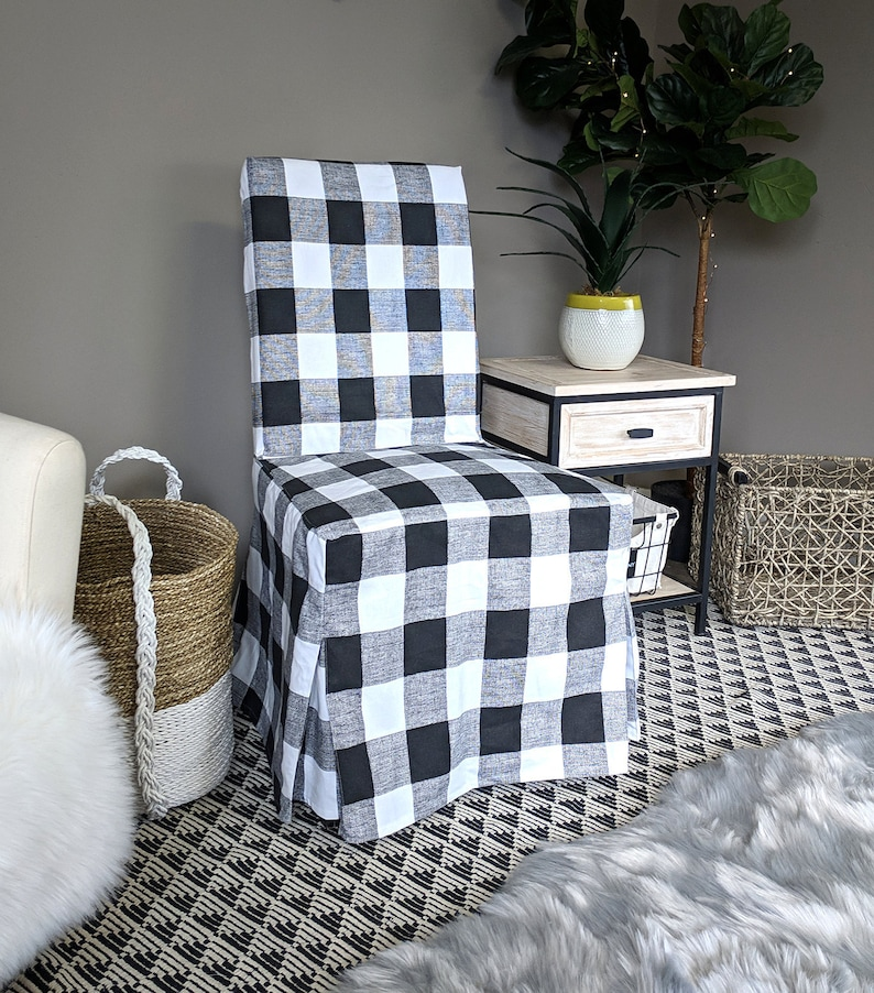 Marvelous Ikea Dining Chair Cover Plaid Buffalo Check Black White Traditional Style Henriksdal Slipcover Gmtry Best Dining Table And Chair Ideas Images Gmtryco