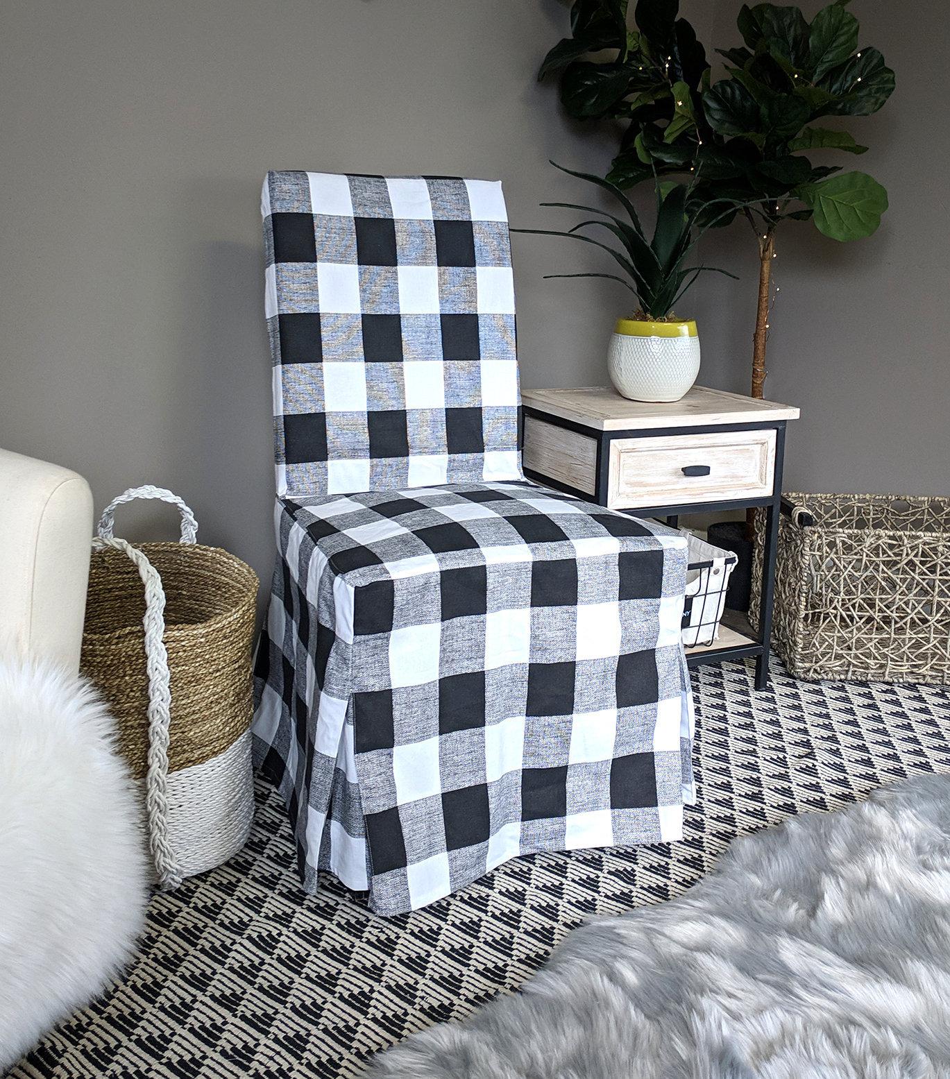 Wondrous Ikea Dining Chair Cover Plaid Buffalo Check Black White Interior Design Ideas Helimdqseriescom