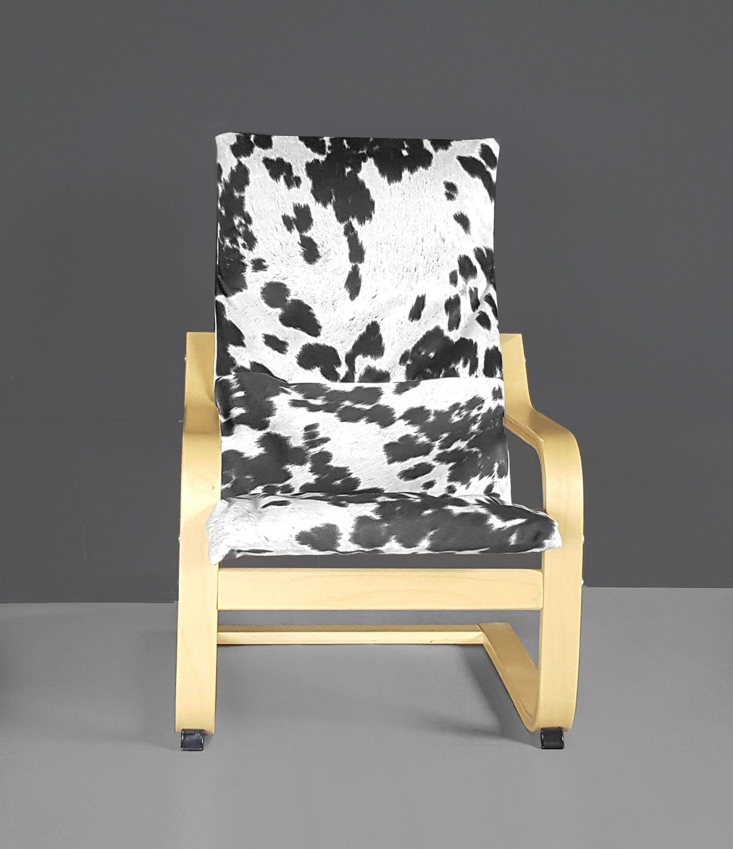 Black Faux Cowhide Animal Print Ikea Kids Poang Cushion Slipcover