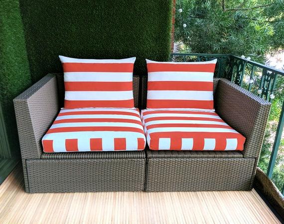 Oranje Kussens Ikea : Oranje wit cabana stripe ikea kungso hallo buiten slip cover etsy