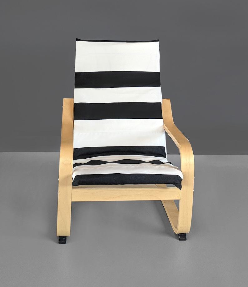 Brilliant Black White Stripe Ikea Kids Poang Cushion Slip Cover Cjindustries Chair Design For Home Cjindustriesco