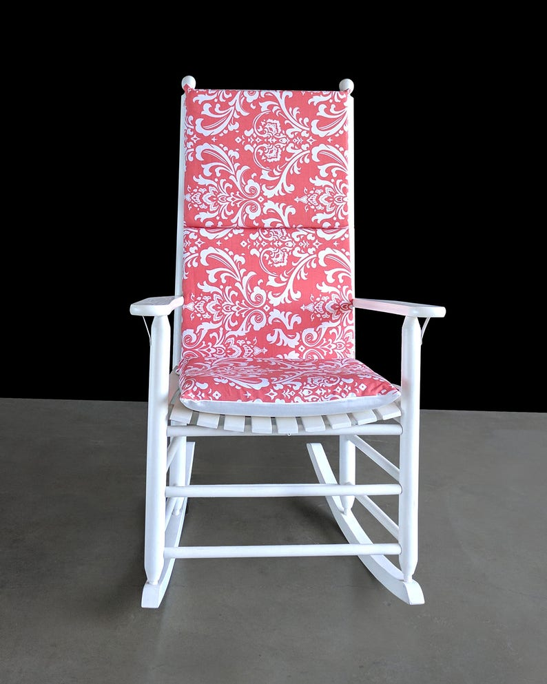 Awe Inspiring Nursery Room Rocking Chair Cover Coral Pink Damask Flower Chair Cover Lamtechconsult Wood Chair Design Ideas Lamtechconsultcom