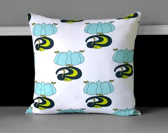 "Pillow Covers - White Blue Lime Tulip, 18"" x 18"", Ready to Ship"