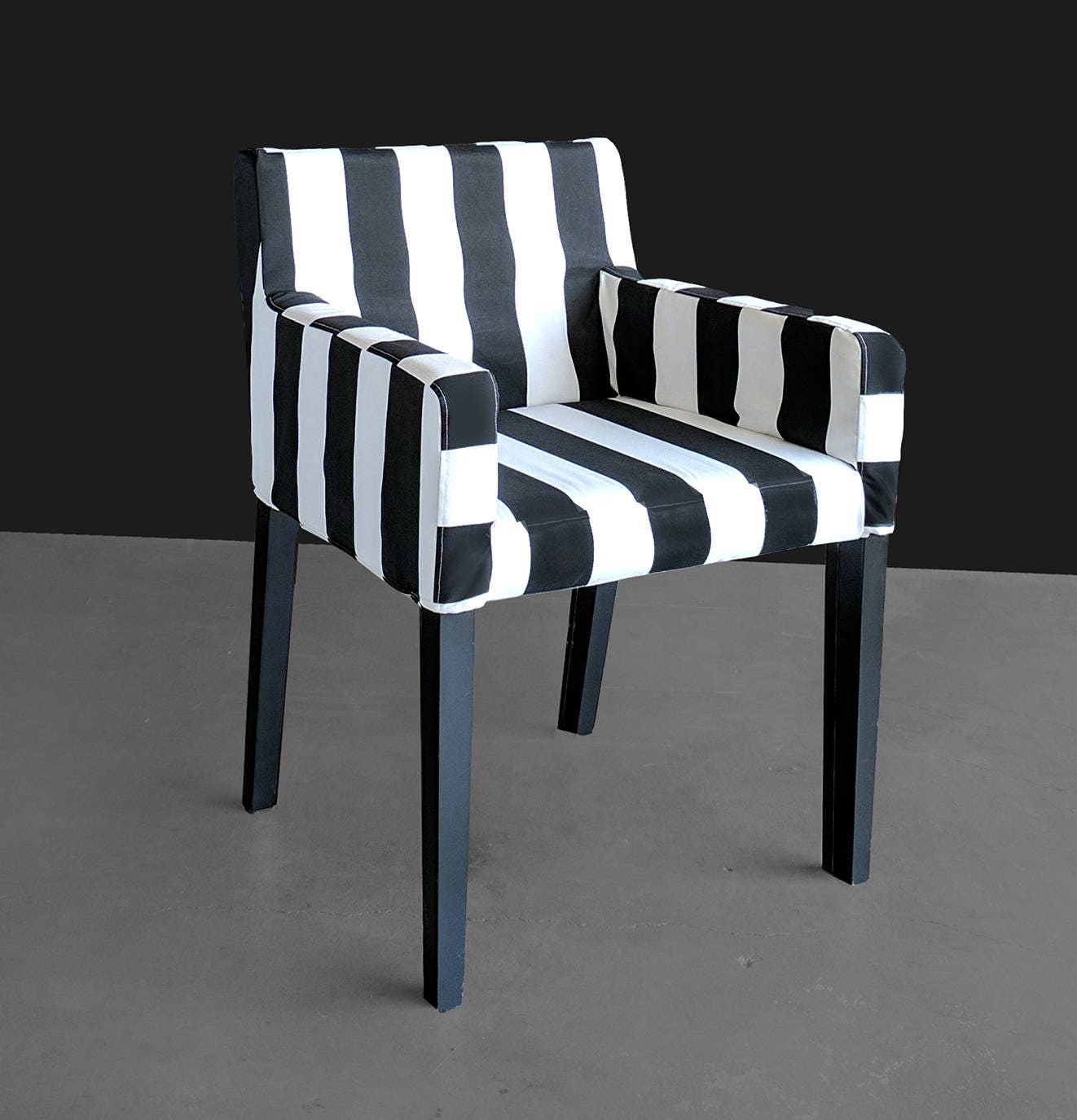 Miraculous Ikea Nils Chair Slip Cover Cabana Stripe Black White Pabps2019 Chair Design Images Pabps2019Com