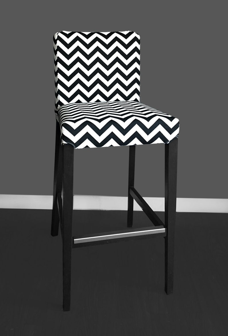 Sensational Black White Zig Zag Henriksdal Bar Stool Cover Chevron Henriksdal Chair Cover Short Links Chair Design For Home Short Linksinfo