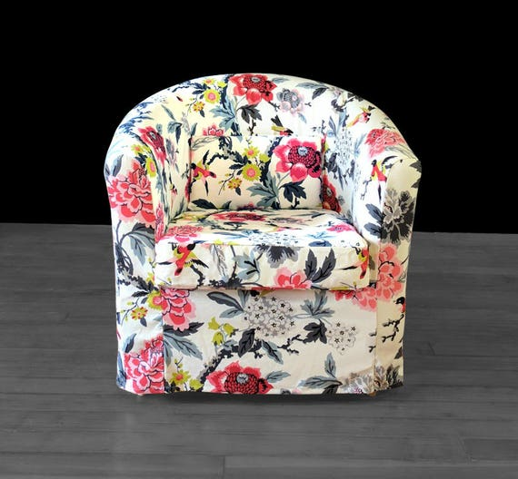 Super Ikea Tullsta Chair Slip Cover White Colorful Flower Floral Print Ektorp Bucket Chair Cover Gmtry Best Dining Table And Chair Ideas Images Gmtryco