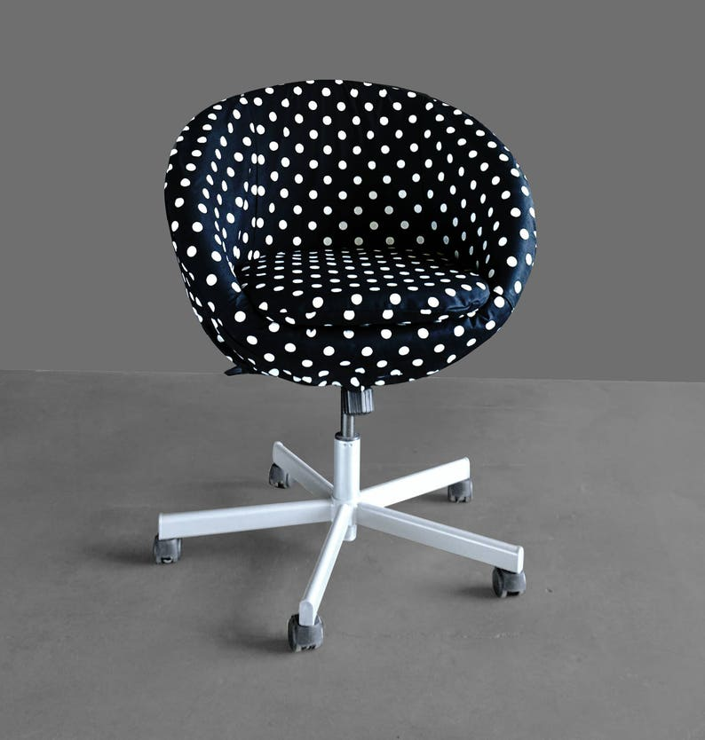 Ikea Skruvsta Draaifauteuil.Black Polka Dot Ikea Skruvsta Chair Slip Cover